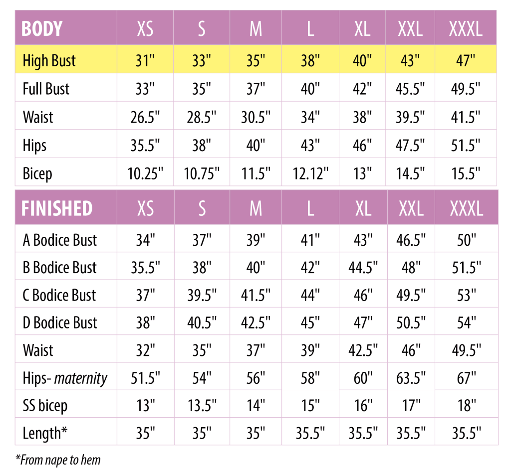 Sonata maternity size chart