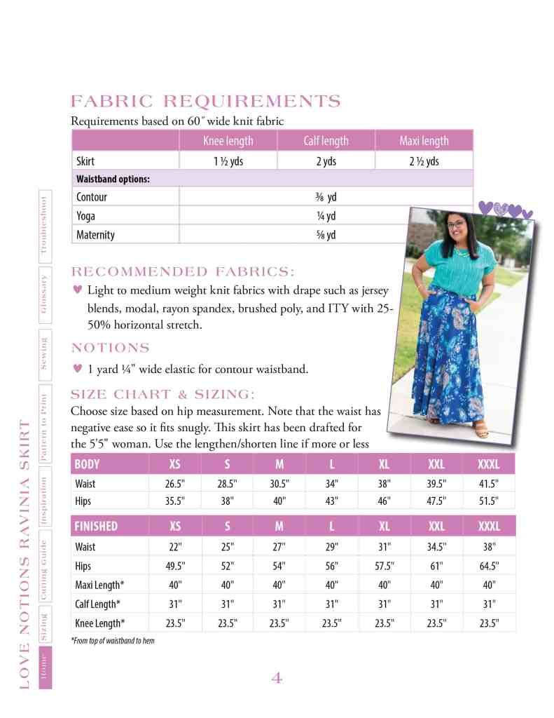 size chart and fabric requirements for Ravinia Skirt