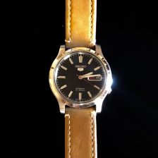 Perpetual Girl's black dial Seiko 5. A watch that reminds her of the Rolex Explorer