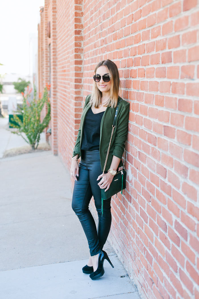 Black Tight Pants and Green Olive Blazer