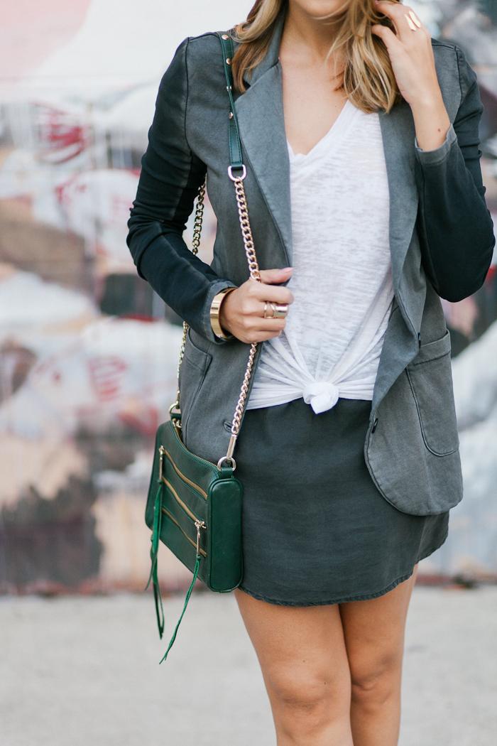 blazer skirt and white tee