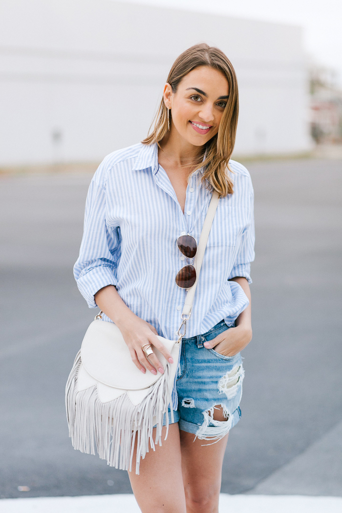 oversized striped button up shirt