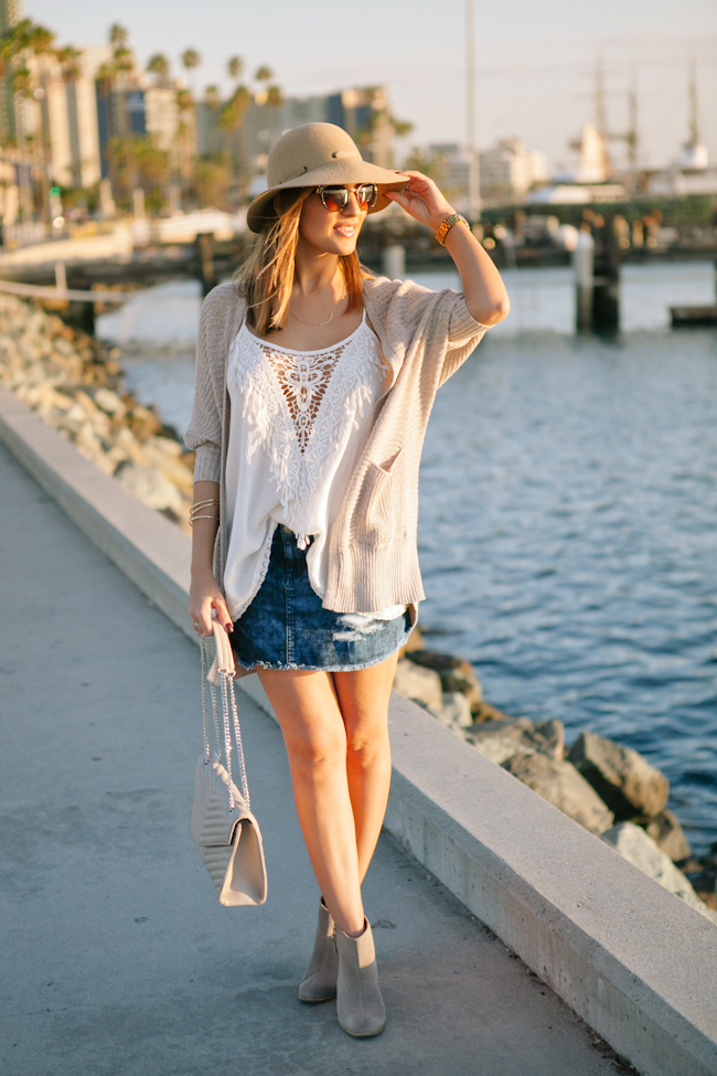 cardigan over denim skirt