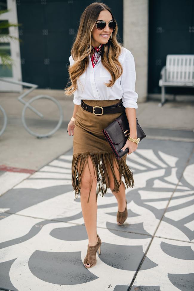 TopShop White Button Down Fringe Skirt