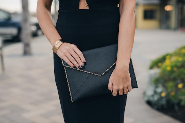 rebecca minkoff black leo clutch