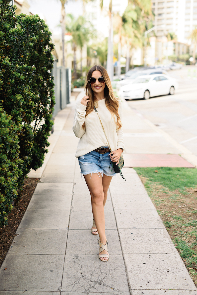 Cutoff Shorts Oversized Sweater