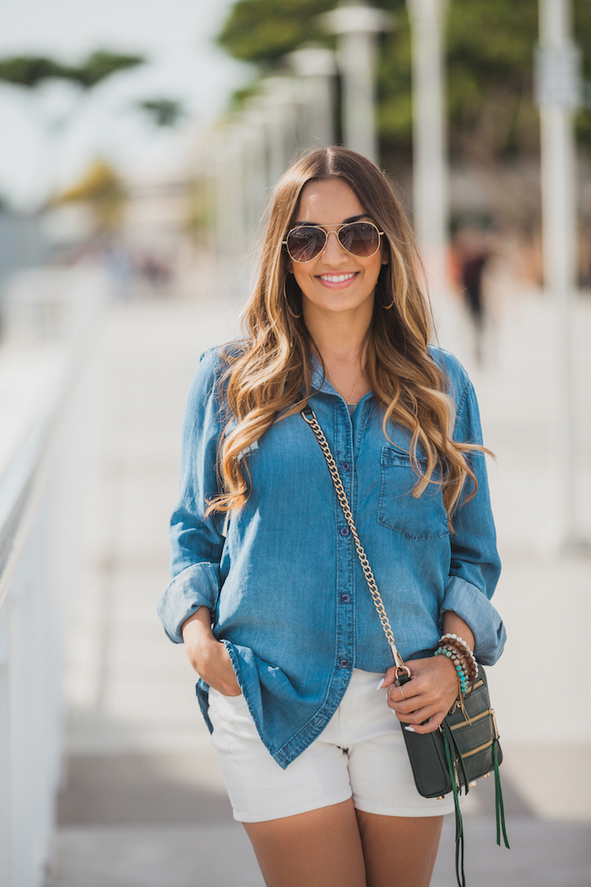 bella dahl chambray overshized shirt