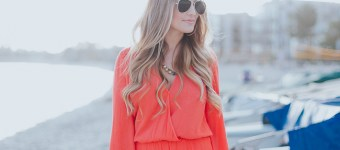 Bell Sleeve Coral Romper
