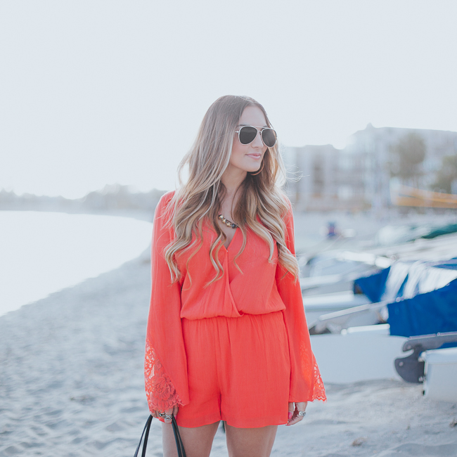 Guess Bell Sleeve Coral Romper