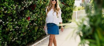 Lace Up Denim Skirt