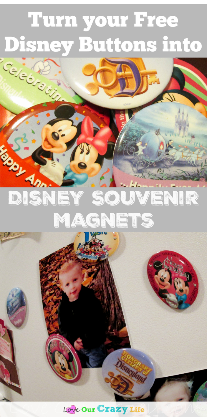 This is awesome! Turn your free Disney souvenir buttons into magnets! Super easy craft idea to show off your Disney souvenirs.