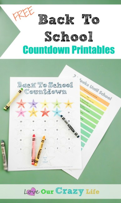 Free Back To School Countdown Printable