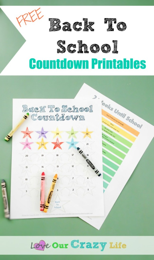 Back to school printable countdown