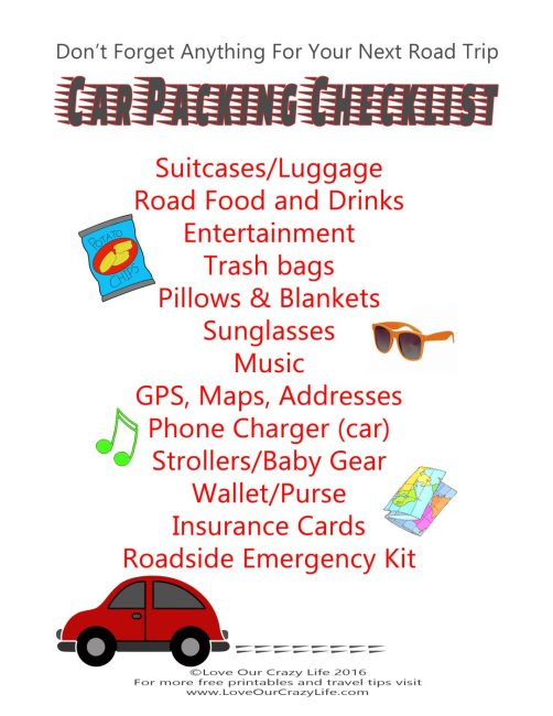 Free Road Trip Packing Checklist