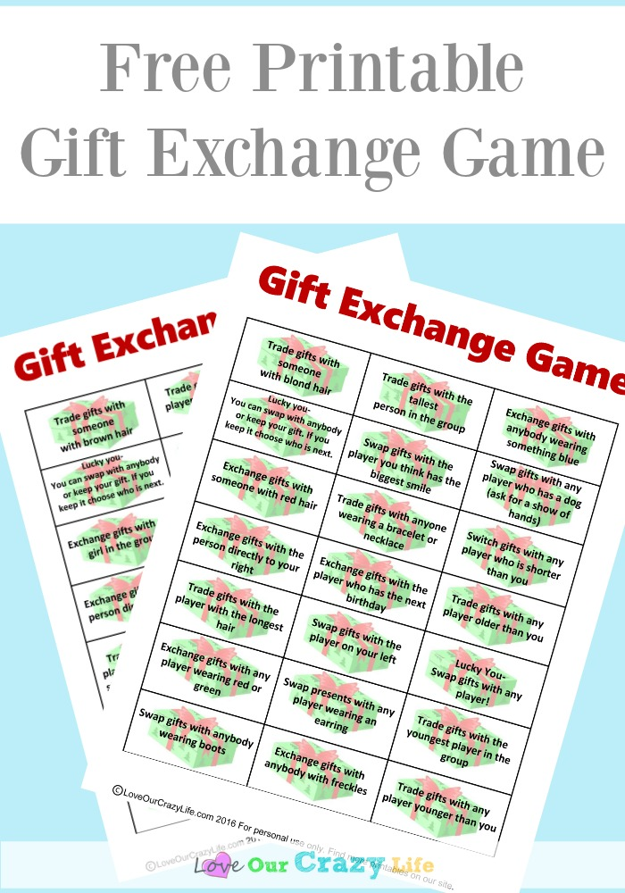 Fun twist on a gift exchange game. Perfect for work, family, or other gift exchanges. Free printable!