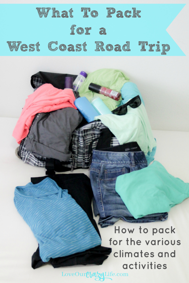 Packing tips for a west coast road trip. Traveling Highway 101 or the 1 you hit several climates and do lots of activities. Check out what we pack to cover it all without taking our whole closet!