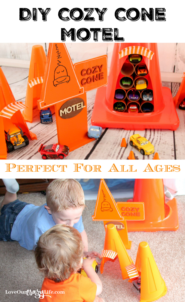 This DIY Cars Cozy Cone Motel is perfect for car lovers of all ages. Inspired by the Disney•Pixar's Cars movies.Disney | Pixar | Cars | DIY | Kids | Crafts | Cozy Cone Motel | Play | Toys