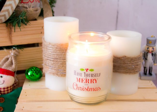 DIY Personalized Christmas Candles