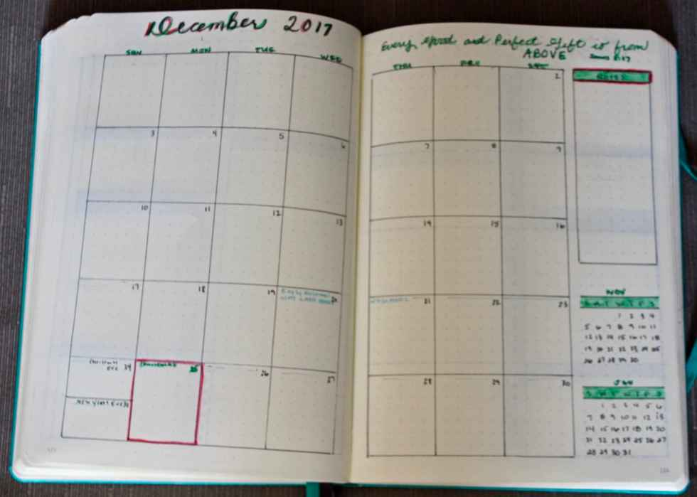 Bullet journal monthy view