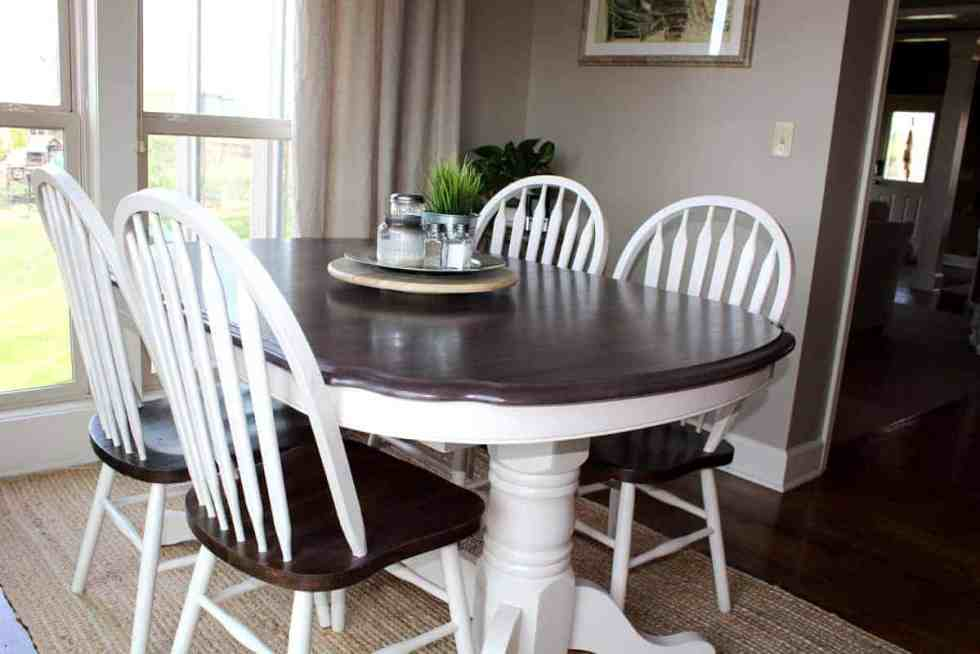 Kitchen table transformation using chalk paint and wood stain, kitchen table makeover