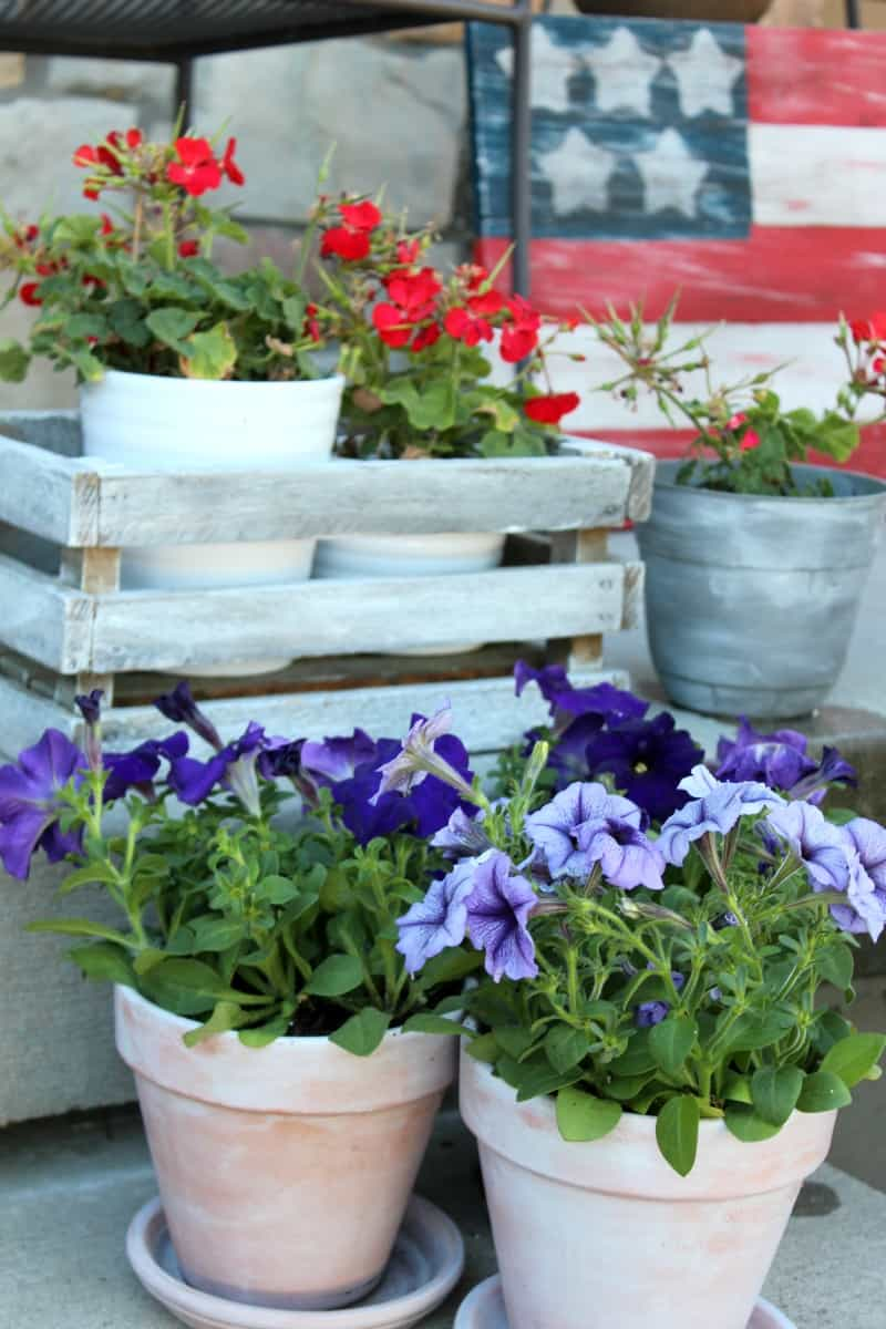 White washed terra cotta pots, white washed wooden crate