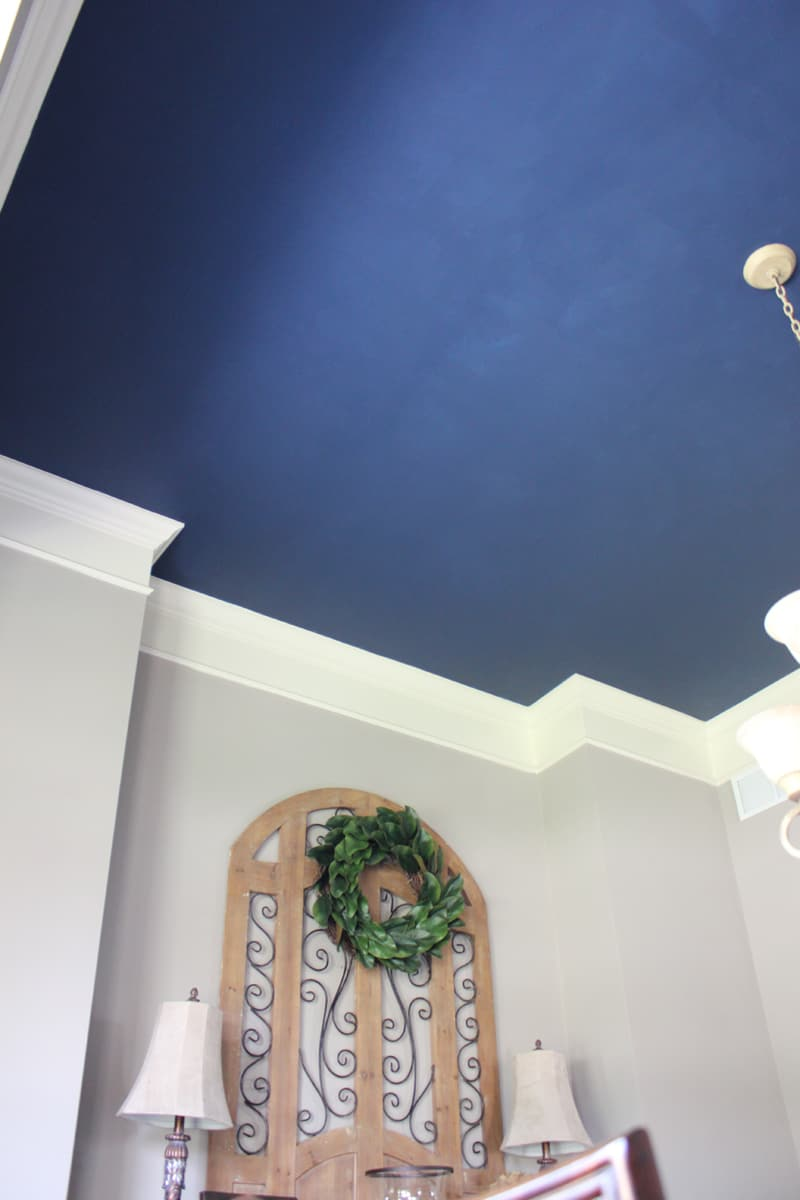 Naval, painted dining room ceiling, before and after