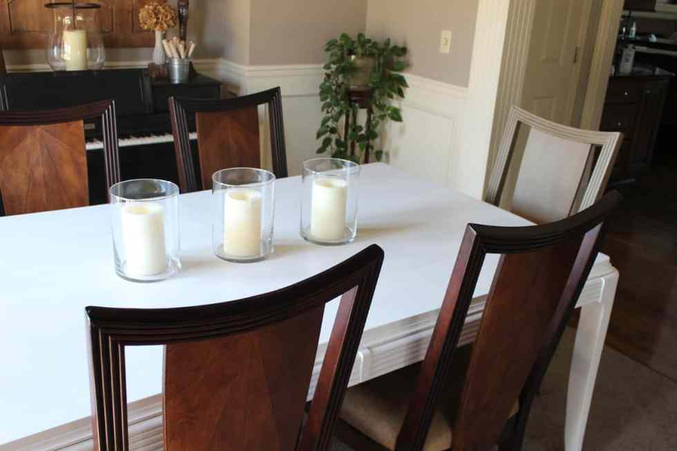 Before and after furniture projects, furniture makeover, chalk paint on dining room table