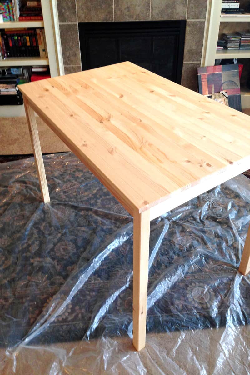 IKEA INGO table, staining table with oxidized steel wool and vinegar
