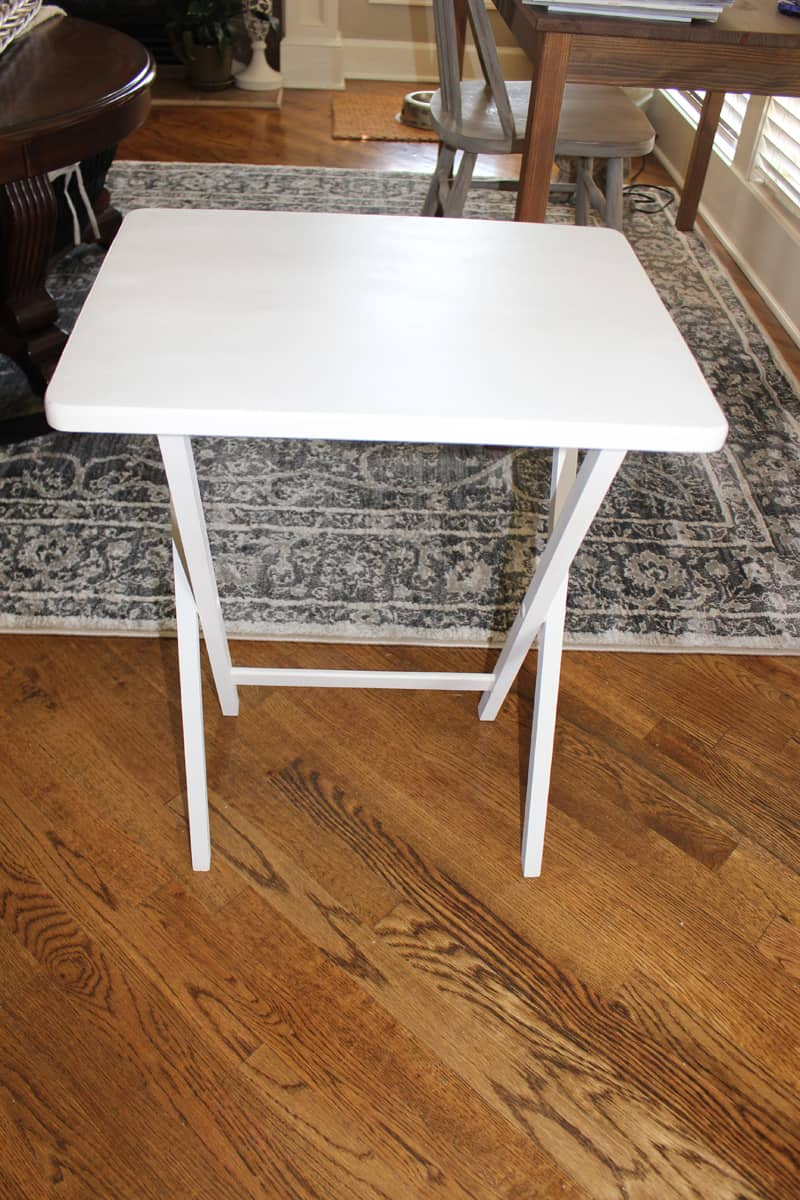 Updating furniture with paint, painting TV tray, painting furniture