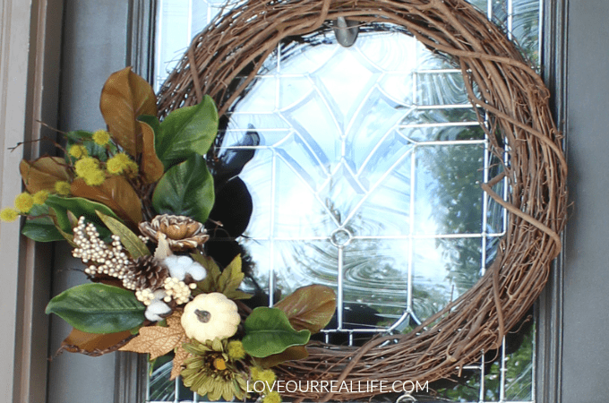 DIY Fall Wreath for front door, fall wreath, DIY wreath, grape vine wreath, neutral fall wreath
