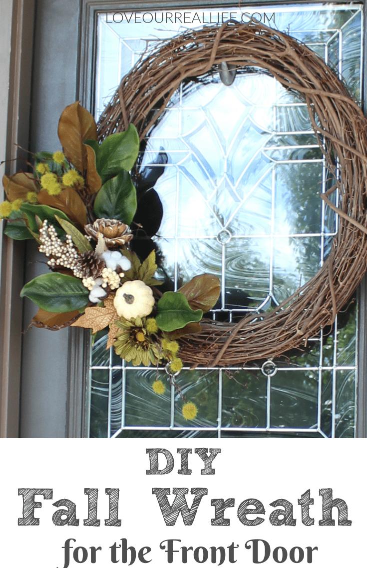 DIY fall wreath, DIY wreath, Front door wreath, neutral wreath, grape vine wreath
