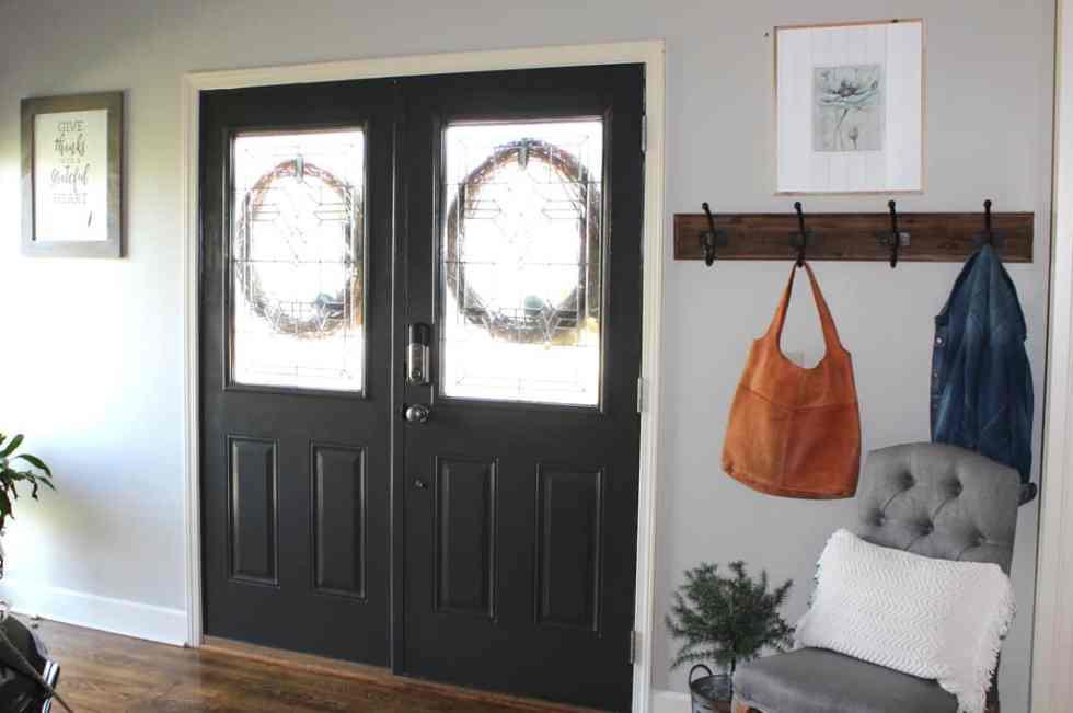 rustic farmhouse entry, rustic farmhouse coat rack, Urbane Bronze interior front doors