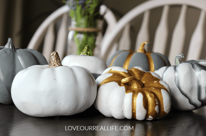 DIY Pumpkins with metallic acrylic paint and spray paint, painting pumpkins, fall crafts