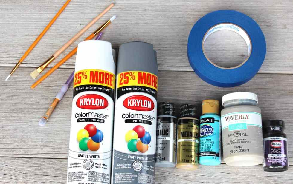 painting pumpkins for fall decor, painting plastic pumpkins, metallic acrylic paint on plastic pumpkins