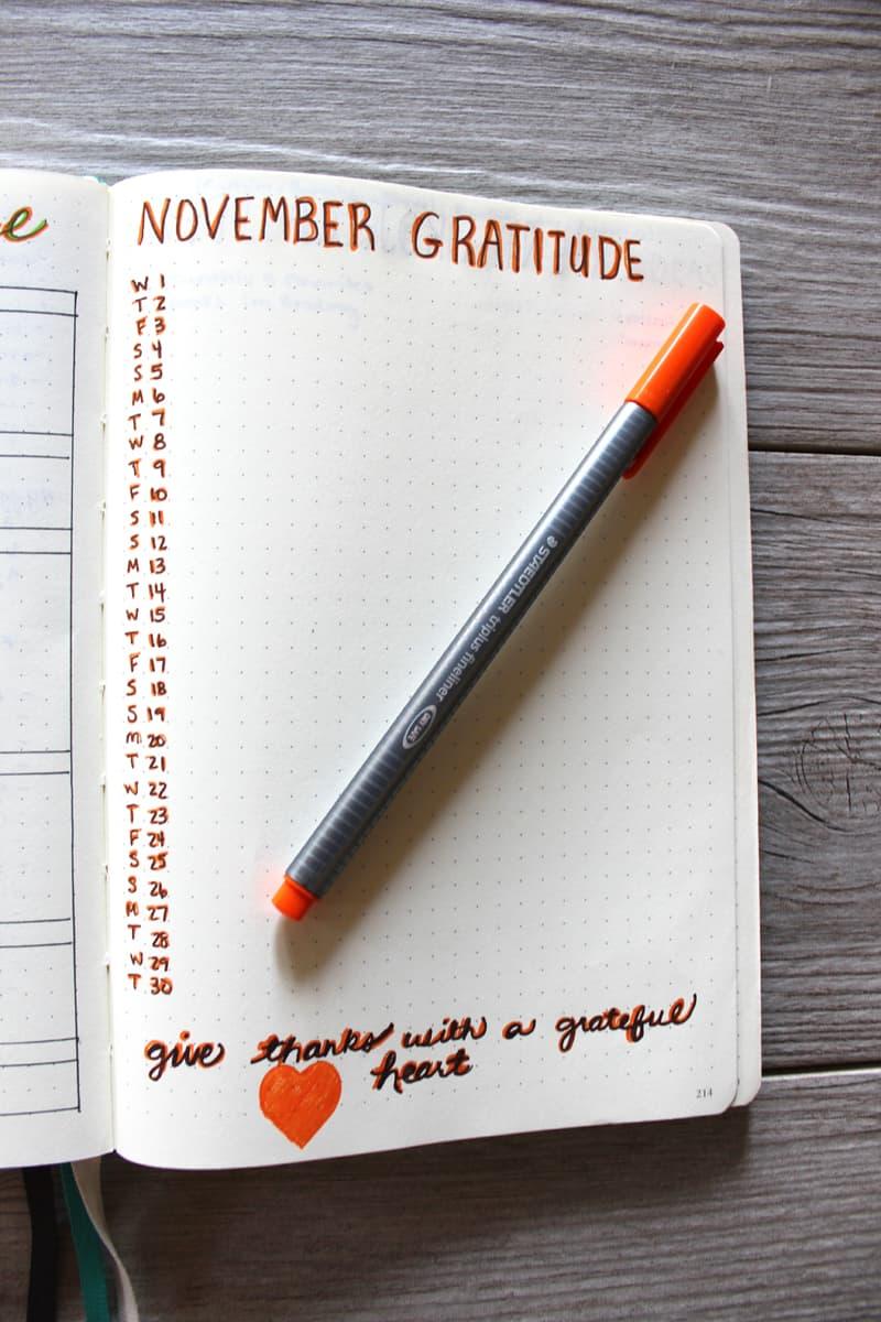 grateful, November gratitude, Gratitude log in bullet journal
