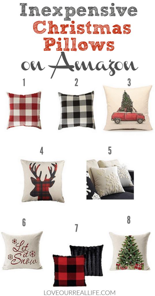 Inexpensive Christmas Pillows on Amazon, Buffalo plaid, Christmas Pillows, Decorating for Christmas with Buffalo Plaid