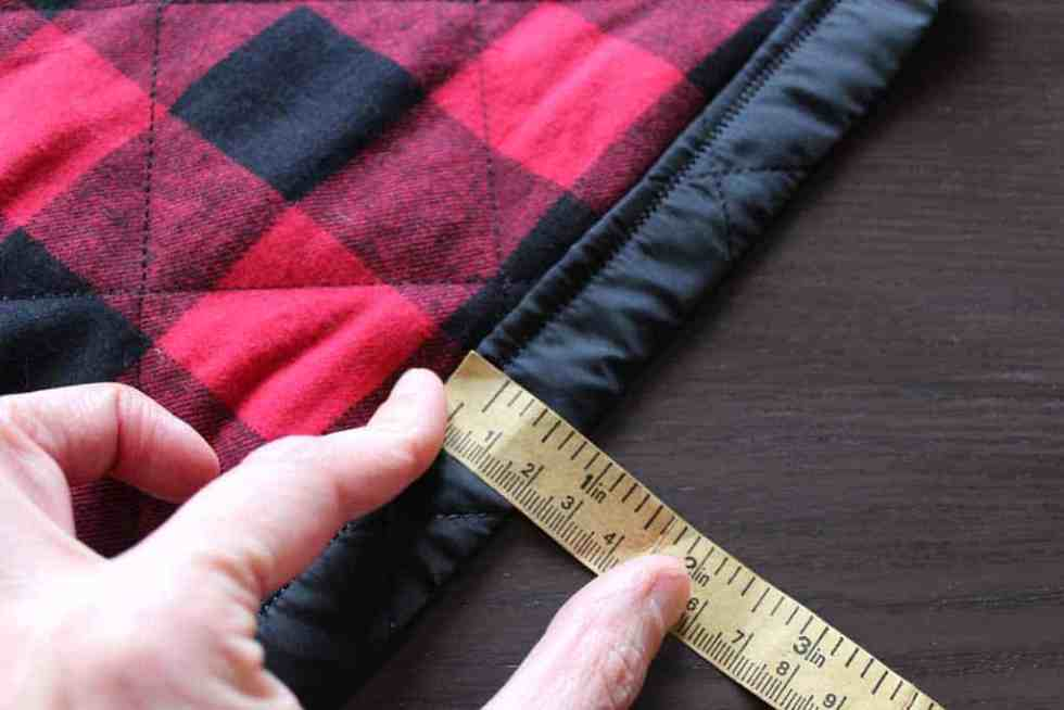 Sew a straight seam that will be the band at the top of the bags.
