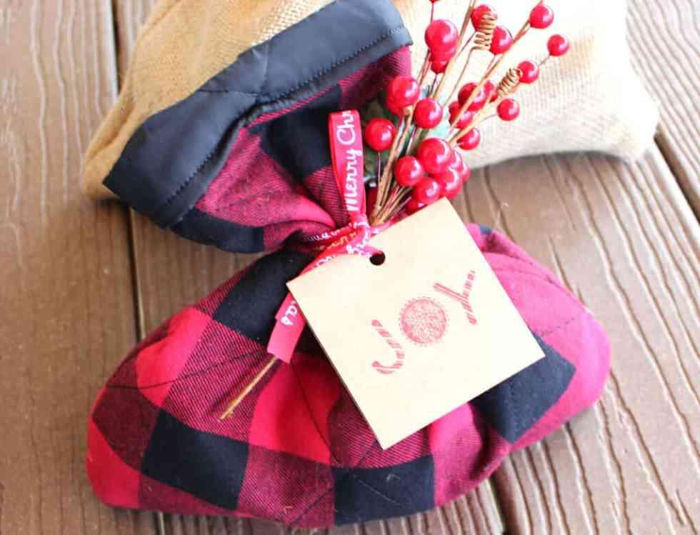 Buffalo plaid simple sew gift sack!