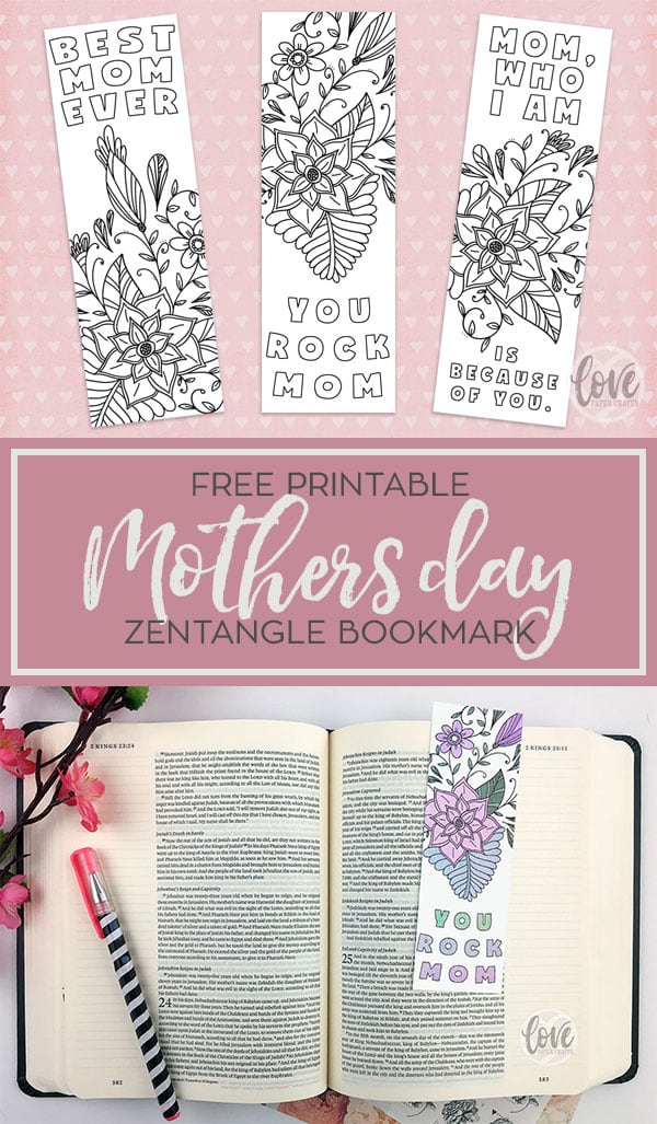 Free Printable Mothers Day Bookmark Love Paper Crafts