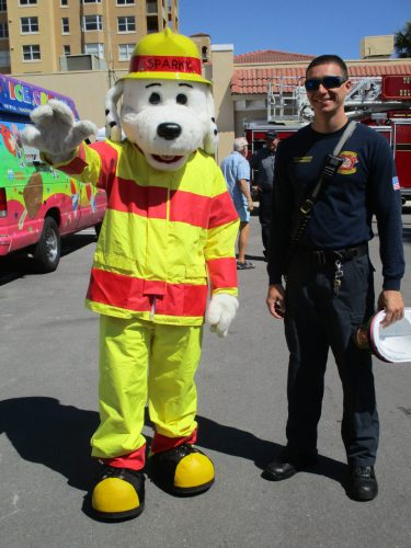 Sparky and fire fighter