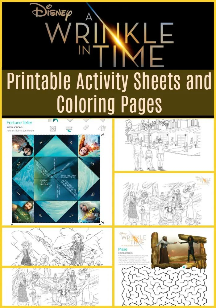 Disneys wrinkle time activity sheets and coloring pages, peace and love coloring pages