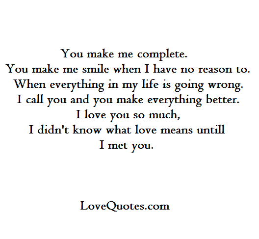 You Make Me Complete Love Quotes