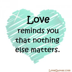 Love Quotes - Love reminds you that nothing else matters.