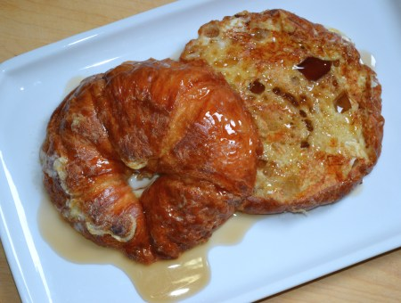 Pumpkin Pie Spice French Toast made with croissants, they melt in your mouth good.
