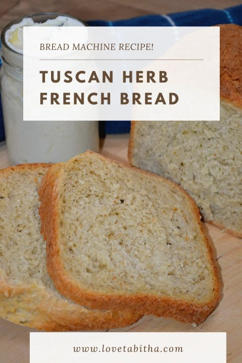 Easy Tuscan Herb French Bread in the Bread Machine! Easy no work on your part and uses all-purpose flour.