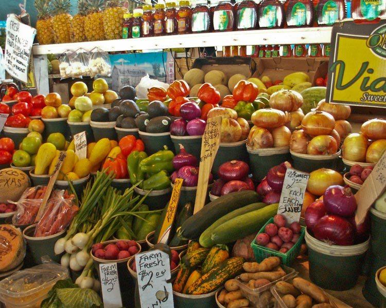 Farmers market, backpacker-friendly, grocery