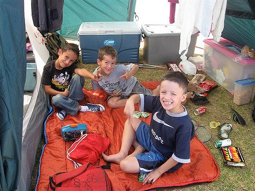 car camping with kids, children