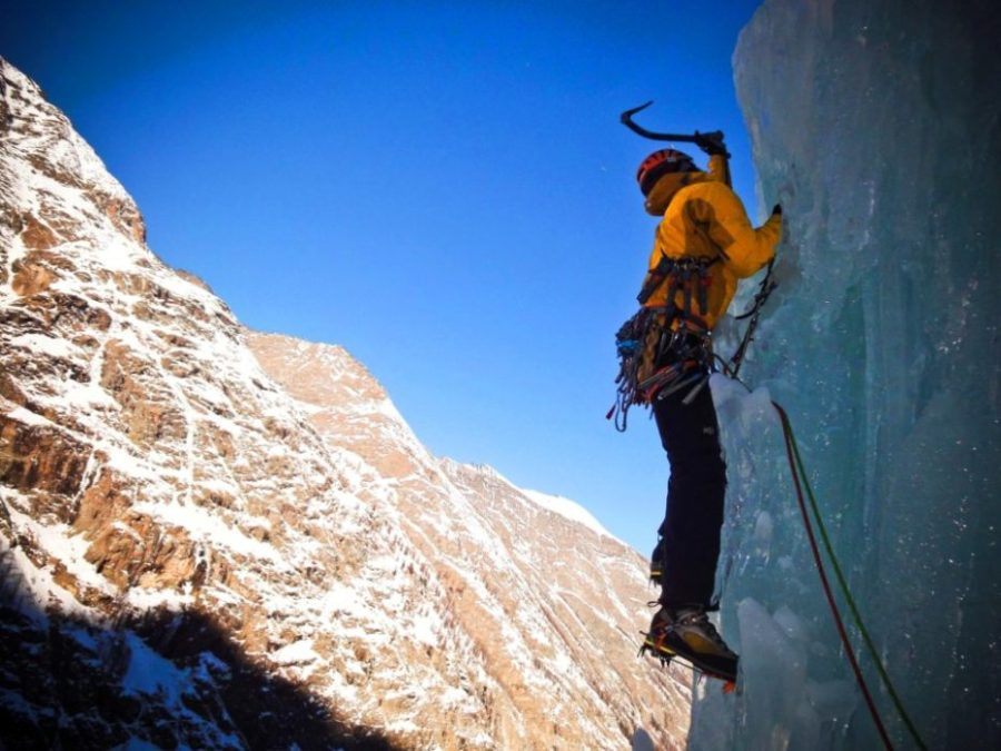 winter backpacking blues, ice climbing