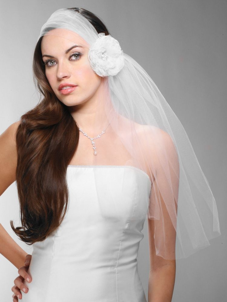 Headband Style Tulle Bridal Veil With Organza Flower