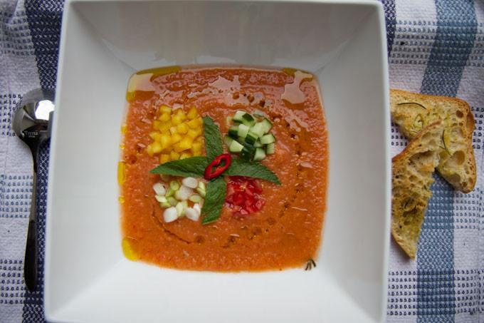 Gazpacho soup with garlic and rosemary ciabatta